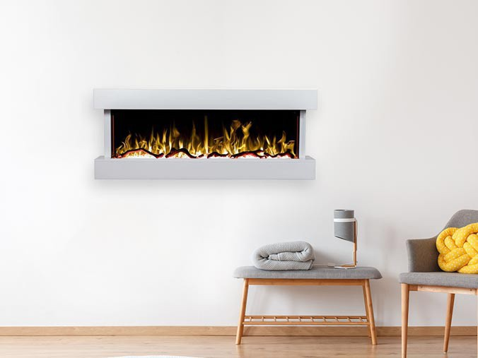 Electric fireplace for the wall