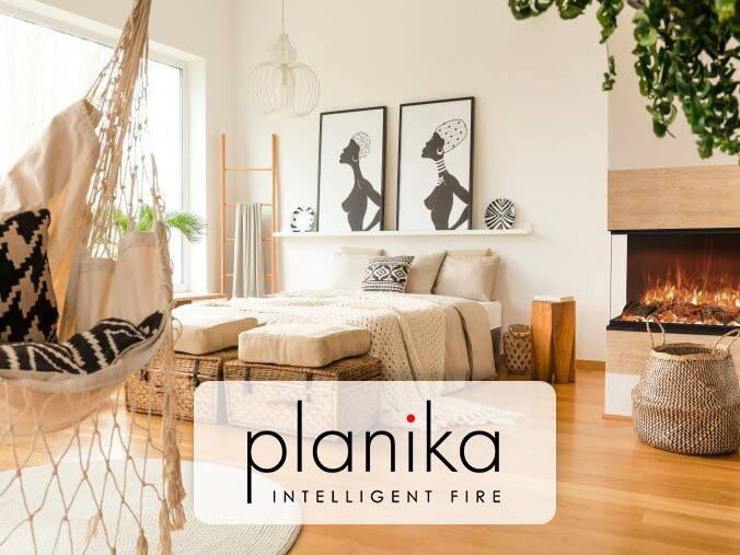 Built-in opti-myst fireplace from Planika